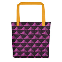Load image into Gallery viewer, Newspaper Hats Pattern | Dark Pink | Tote Bag-tote bags-Yellow-Eggenland