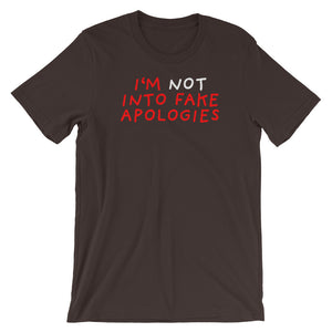 Fake Apologies | Short-Sleeve Unisex T-Shirt-t-shirts-Brown-S-Eggenland