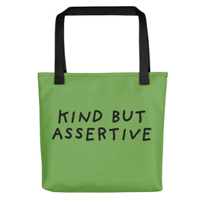 Kind But Assertive | Green | Tote Bag-tote bags-Black-Eggenland