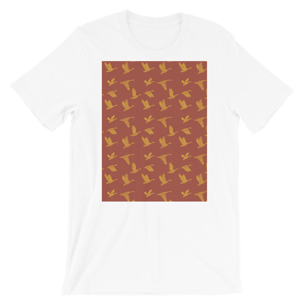 Flying Birds Pattern | Red | Short-Sleeve Unisex T-Shirt-t-shirts-White-S-Eggenland