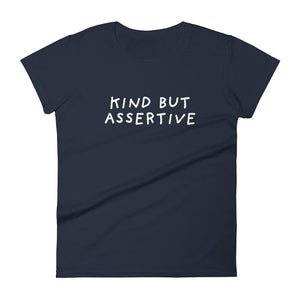 Kind But Assertive | Women's Short Sleeve T-Shirt-t-shirts-Navy-S-Eggenland