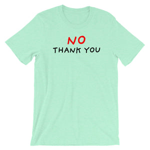 No Thank You | Short-Sleeve Unisex T-Shirt-t-shirts-Heather Mint-S-Eggenland