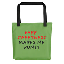 Load image into Gallery viewer, Fake Sweetness | Green | Tote Bag-tote bags-Black-Eggenland