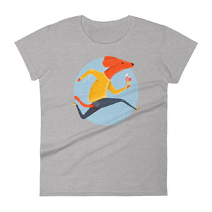 Dog with Ice Cream | Women's Short-Sleeve T-Shirt-t-shirts-Heather Grey-S-Eggenland