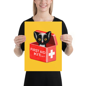 First Aid Kitten | Illustration | Yellow | Poster-posters-12×16-Eggenland
