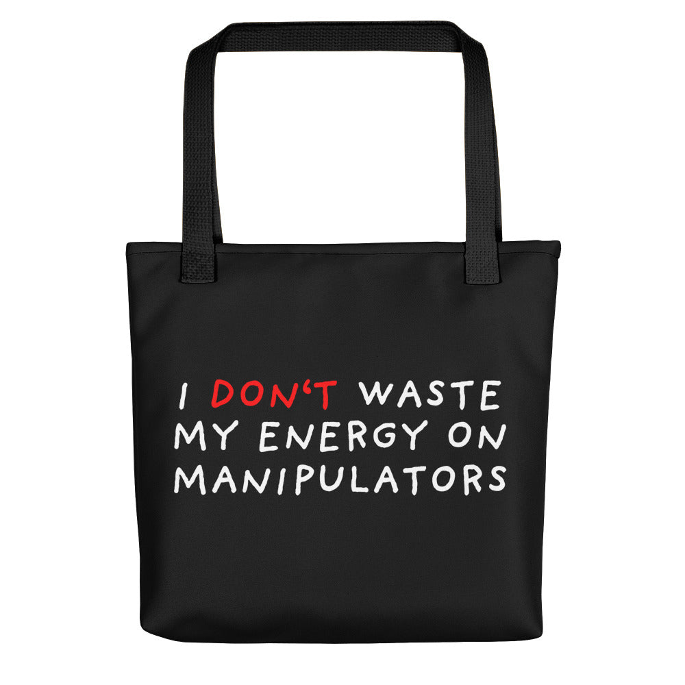 Don't Waste Energy | Black | Tote bag-tote bags-Black-Eggenland