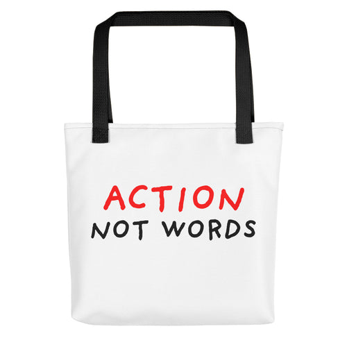 Action Not Words | Tote Bag-tote bags-Black-Eggenland