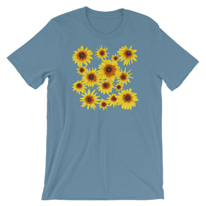 Blooming Flowers | Short-Sleeve Unisex T-Shirt-t-shirts-Steel Blue-S-Eggenland