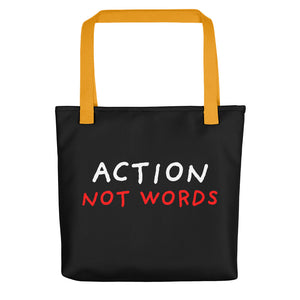 Action Not Words | Black | Tote Bag-tote bags-Yellow-Eggenland