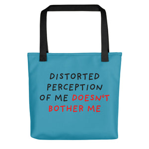 Distorted Perception | Blue | Tote Bag-tote bags-Black-Eggenland