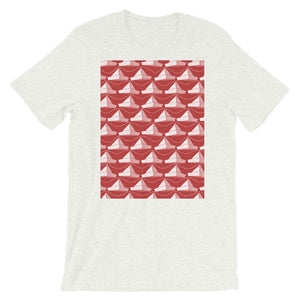 Paper Hats Pattern | Red | Short-Sleeve Unisex T-Shirt-t-shirts-Ash-S-Eggenland