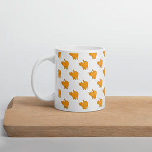 Yellow Cat Pattern | White | Mug-mugs-11oz-Eggenland