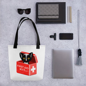 First Aid Kitten | White | Tote Bag-tote bags-Eggenland