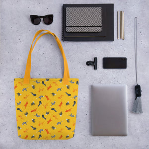 Funky Cats Pattern | Yellow | Tote Bag-tote bags-Eggenland
