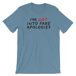 Fake Apologies | Short-Sleeve Unisex T-Shirt-t-shirts-Steel Blue-S-Eggenland