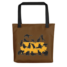 Load image into Gallery viewer, Black Cats Party | Brown | Tote Bag-tote bags-Black-Eggenland
