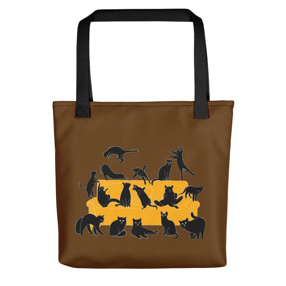 Black Cats Party | Brown | Tote Bag-tote bags-Black-Eggenland