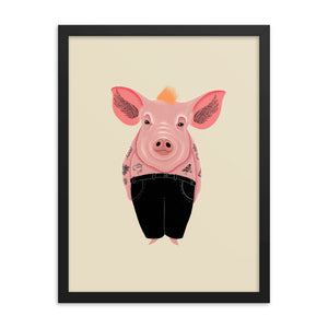 Cool Pig With Tattoos | Illustration | Cream | Framed Posters-framed posters-Eggenland