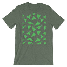 Load image into Gallery viewer, Paper Planes Pattern | Green | Short-Sleeve Unisex T-Shirt-t-shirts-Heather Forest-M-Eggenland