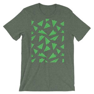 Paper Planes Pattern | Green | Short-Sleeve Unisex T-Shirt-t-shirts-Heather Forest-M-Eggenland