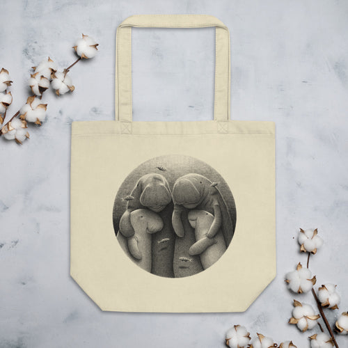 Dugong Family | Black and White Illustration | Eco Tote Bag-tote bags-Eggenland