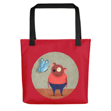 Load image into Gallery viewer, Bear and Butterfly | Red | Tote Bag-tote bags-Black-Eggenland