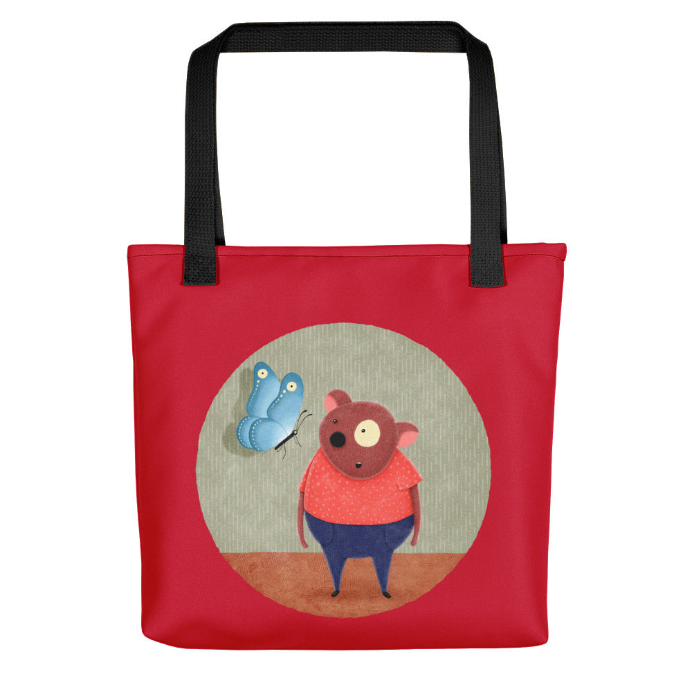 Bear and Butterfly | Red | Tote Bag-tote bags-Black-Eggenland