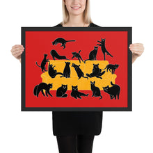 Load image into Gallery viewer, Black Cats Party | Red | Illustration | Framed Poster-framed posters-Black-18×24-Eggenland