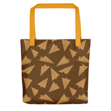 Load image into Gallery viewer, Paper Planes Pattern | Golden and Brown | Tote Bag-tote bags-Yellow-Eggenland