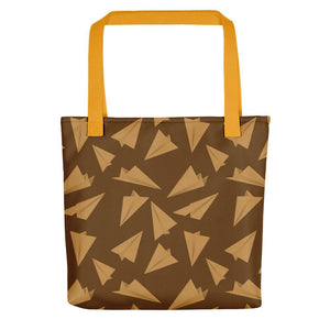 Paper Planes Pattern | Golden and Brown | Tote Bag-tote bags-Yellow-Eggenland