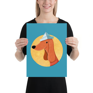 Dog with Newspaper Hat | Poster-posters-12×16-Eggenland