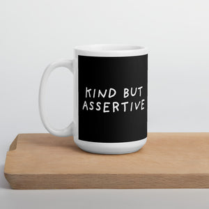 Kind But Assertive | Black | Mug-mugs-15oz-Eggenland