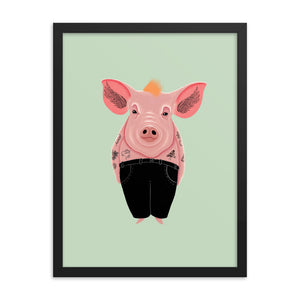 Cool Pig With Tattoos | Illustration | Green | Framed Posters-framed posters-Eggenland