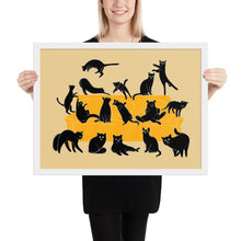 Load image into Gallery viewer, Black Cats Party | Cream | Illustration | Framed Poster-framed posters-White-18×24-Eggenland