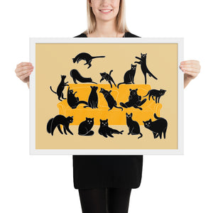 Black Cats Party | Cream | Illustration | Framed Poster-framed posters-White-18×24-Eggenland
