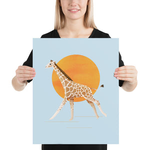 Giraffe and Sun | Blue | Poster-posters-16×20-Eggenland