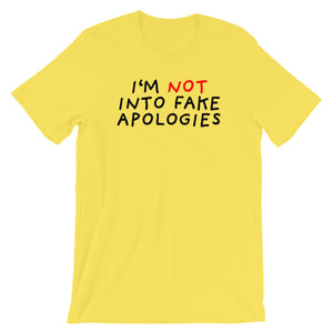 Fake Apologies | Short-Sleeve Unisex T-Shirt-t-shirts-Yellow-S-Eggenland