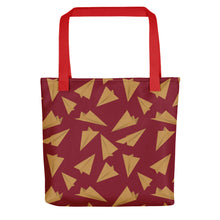 Load image into Gallery viewer, Paper Planes Pattern | Red and Golden | Tote Bag-tote bags-Red-Eggenland