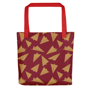 Paper Planes Pattern | Red and Golden | Tote Bag-tote bags-Red-Eggenland