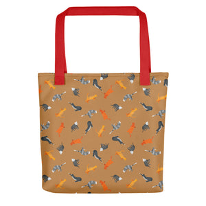 Funky Cats Pattern | Light Brown | Tote Bag-tote bags-Red-Eggenland
