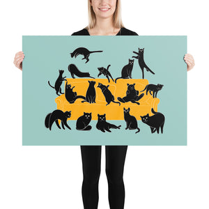 Black Cats Party | Blue | Illustration | Poster-posters-24×36-Eggenland