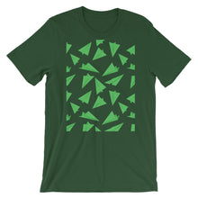 Load image into Gallery viewer, Paper Planes Pattern | Green | Short-Sleeve Unisex T-Shirt-t-shirts-Forest-M-Eggenland