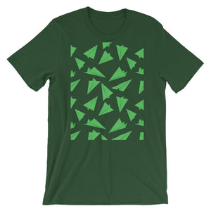 Paper Planes Pattern | Green | Short-Sleeve Unisex T-Shirt-t-shirts-Forest-M-Eggenland