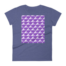 Load image into Gallery viewer, Paper Hats Pattern | Violet | Women's Short-Sleeve T-Shirt-t-shirts-Heather Blue-S-Eggenland