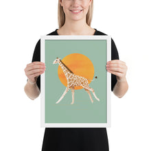 Load image into Gallery viewer, Giraffe and Sun | Illustration | Green | Framed Poster-framed posters-White-12×16-Eggenland