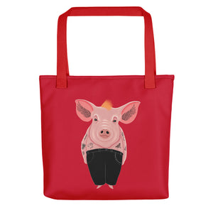 Cool Pig with Tattoos | Red | Tote Bag-tote bags-Red-Eggenland