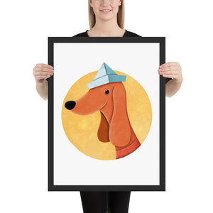 Dog With Newspaper Hat | Illustration | Framed Poster-framed posters-Black-18×24-Eggenland