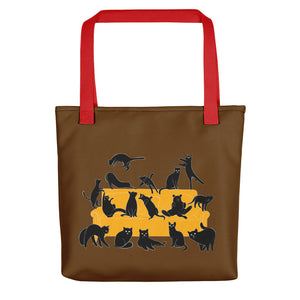 Black Cats Party | Brown | Tote Bag-tote bags-Red-Eggenland