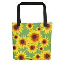 Load image into Gallery viewer, Blooming Flowers | Green | Tote Bag-tote bags-Black-Eggenland