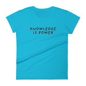 Knowledge is Power | Women's Short Sleeve T-Shirt-t-shirts-Caribbean Blue-S-Eggenland
